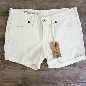 NEW Madewell Cuffed Shorts White Raw Hem Pockets